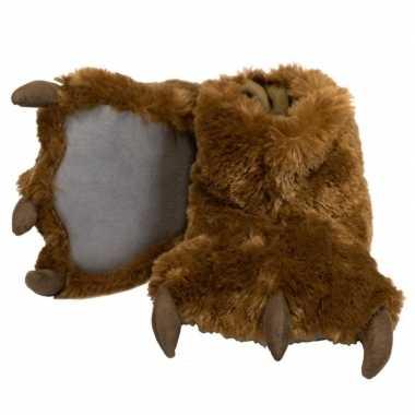 Bruine beer poten sloffen voor dames