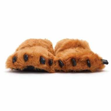Dames dierenpoot sloffen/sloffen beer voor volwassenen bruin 45/47