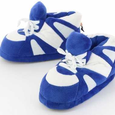 Dames sneaker sloffen/sloffen voor volwassenen blauw/wit 39/41