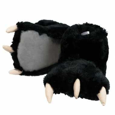 Zwarte beer poten sloffen voor dames